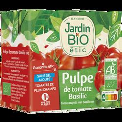 Pulpe de tomate et basilic JARDIN BIO, brique de 500g