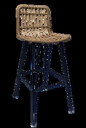 Lot 2 chaises de bar 51x44x100cm en armature tube acier époxy dia 19/12/10mm recouvert de polyétylène imitationosier naturel noir-à monter soi-même