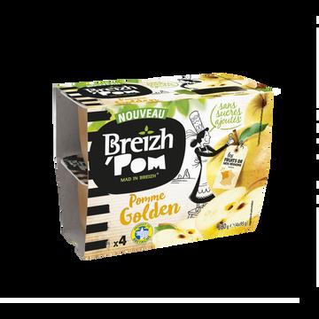 Breizh' Pom Breizh'pom Pomme Golden Sans Sucre Ajouté, 4x95g