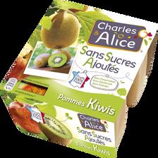 Spécialité de fruits pomme kiwi sans sucre ajouté, CHARLES ET ALICE, 4x9, 7g