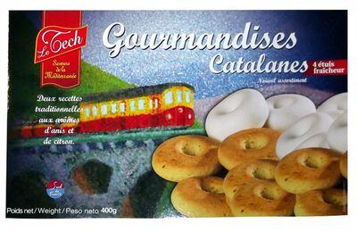 Gourmandises catalanes, 8 rousquilles fondantes et 12 couronnes craquantes, 4 étuis fraîcheur, poids net 400g