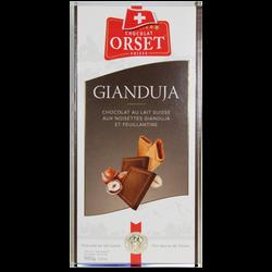 Tablette de chocolat au lait gianduja et feuilletine ORSET, 100g