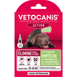 VC solution p/spot on grands chiens VETOCANIS duo 268mg/80mg