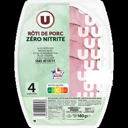 Rôti porc cuit qualité supérieure traité salaison,bruni zéro nitrite U140g