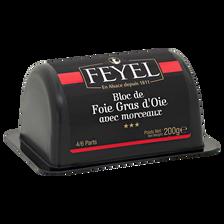 Bloc de Foie gras d'oie 30% morceaux mi-cuit FEYEL, barquette de 200g