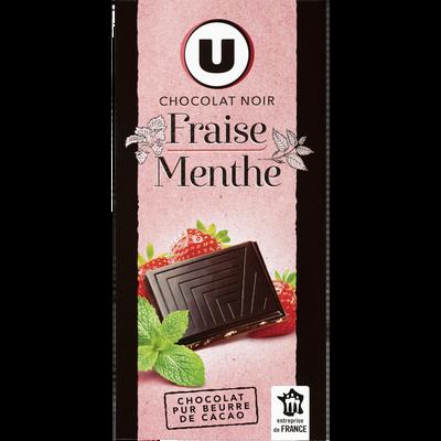 Chocolat noir fraise et menthe, U, tablette de 100g