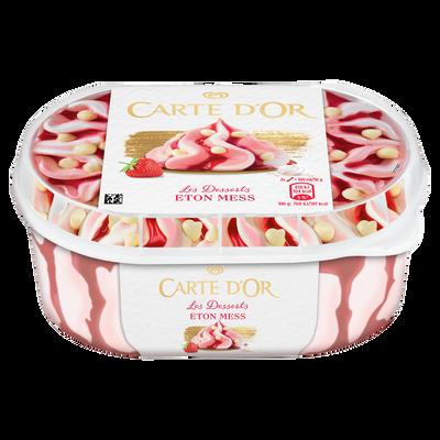 Crème glacée façon glacier fraise meringue CARTE D'OR, bac de 500g