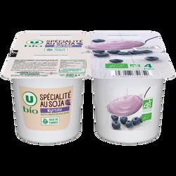 Spécialité végétal à base de soja aux myrtille U BIO, 4x100g