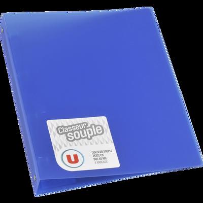 Classeur souple U, format A4, dos 40mm, bleu