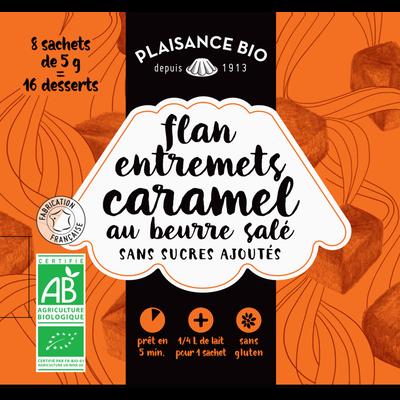 Entremets non sucré caramel beurre salé 8x1/4 l, PLAISANCE BIO, étui 40g
