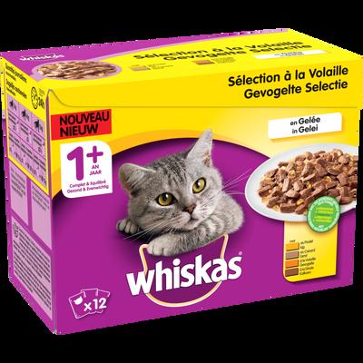 Aliment pour chat Délices de volaille en gelée viande légumes WHISKAS,4 variétés, 12x100g