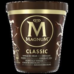 Crème glacée vanille avec du chocolat au lait MAGNUM, pot de 297g