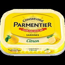 Sardine huile tournesol et citron PARMENTIER, boîte 1/6, 135g