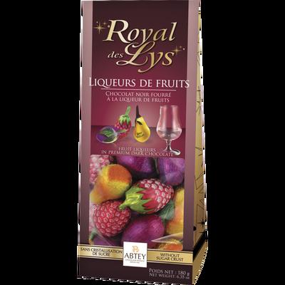 """Chocolats fourrés liqueurs de fruits """"royal des lys"""" ABTEY, sachet de18 unités, 180g"""