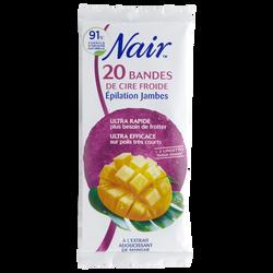 Cire froide pour les jambes parfum mangue et lingettes finition douceur NAIR, 20 bandes
