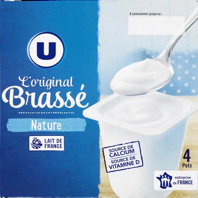 Yaourt brassé nature U, 4 pots x125g