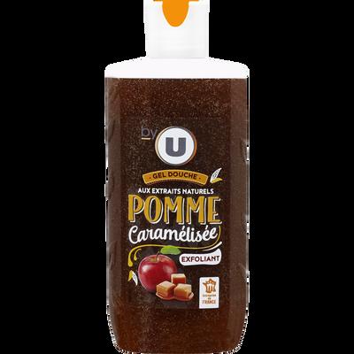 Gel douche exfoliant parfum pomme caramélisée BY U, flacon de 250ml