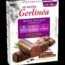 Barres repas minceur hyperprotéiné au chocolat GERLINEA, 12 unités soit 372g