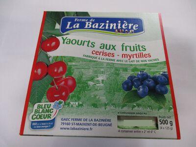 yaourts aux fruits, BLEU BLANC COEUR, au lait entier de vache, cerises et myrtilles, La Bazinière, pot 4x125g