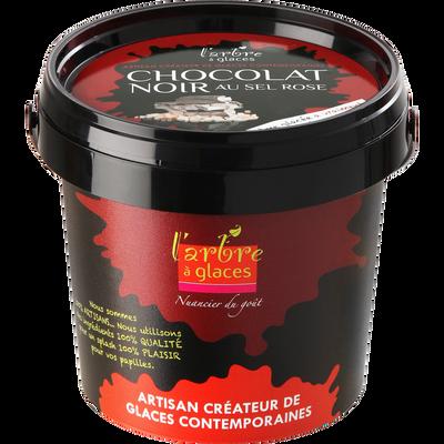 Crème glacée au chocolat noir au sel rose L'ARBRE A GLACES, pot de 330g
