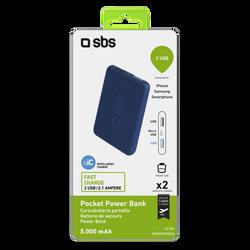 Batterie de secours SBS 5000mah bleu-sortie 2 usb 2.1 A-format poche