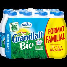 Candia Lait Uht 1/2 Écrémé Biologique Grandlait, 8x1l