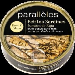 Petites sardines fumées huile thym & citron PARALLELES, 160g