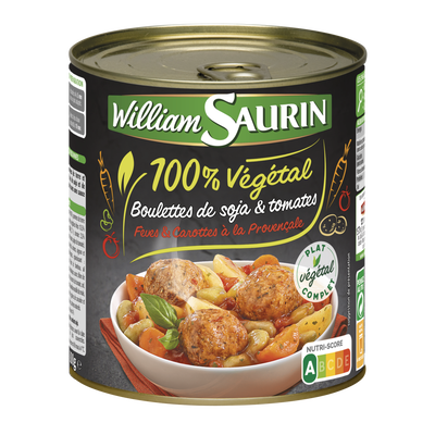 Boulettes soja et tomates 100% végétal WILLIAM SAURIN, boîte de 800g