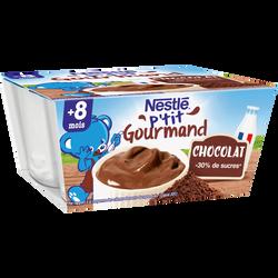 P'tit gourmand crème dessert au chocolat NESTLÉ, dès 8 mois, 4x100g