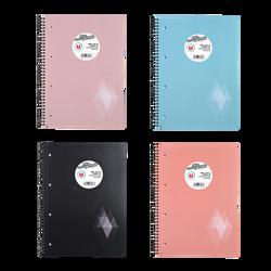 Grand cahier reliure intégrale U, petits carreaux, 22,4x29,7cm, 180 pages, coloris assortis