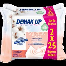 Demak'Up Lingettes Démaquillantes Douceur Coton Pour Peaux Sèches Et Sensiblesdemak 'up, 2x25 Unités