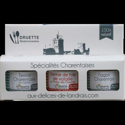 Coffret spécialités charentaises fagot charentais 90g, terrine de foiede volaille 90g, terrine charentaise 90g, DRUETTE GASTRONOMIE