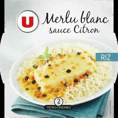Merlu blanc sauce citron et riz U, barquette micro-ondable de 300g