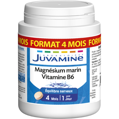 Cure équilibre nerveux magnésium marin vitamine B6 JUVAMINE, format 4 mois