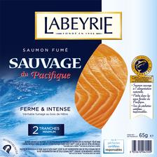 Saumon sauvage pacifique fumé bois de hêtre LABEYRIE, 2 tranches soit65g