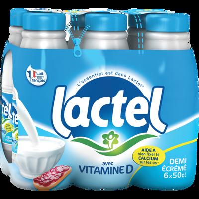 Lait UHT 1/2 écrémé LACTEL, 6 bouteilles de 50cl