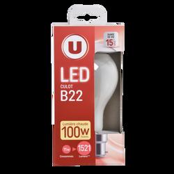 Led U, ronde, 100w, b22, opaque, lumière chaude