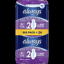 Serviettes hygiéniques ultra long plus ALWAYS, x24