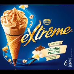 Cônes glacés vanille praliné EXTRÊME, x6 soit 426g