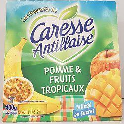 Compote de pommes et fruits tropicaux allégée en sucres, CARESSE ANTILLAISE 4x100g