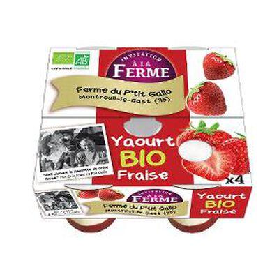 Yaourt à la fraise fermier bio FERME PEARD x4 500g