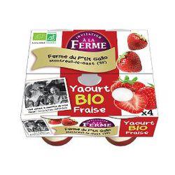 Yaourt BIO au lait frais de vaches, fraise, FERME D'ANA-SOIZ, 4 pots de 125g