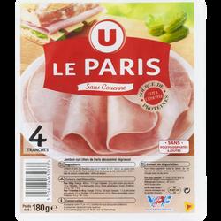 Jambon de Paris découenné et dégraissé Viande de porc Française, U, 4tranches soit 180g