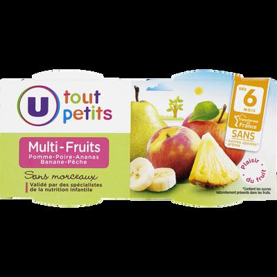 Bols pomme multifruits 6 mois U TOUT PETITS, 2x120g