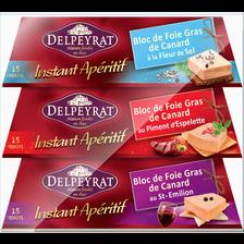Delpeyrat Bloc Foie Gras Canard Instant Apéro  Barquette 2x100g +1 Gratuit, 300g
