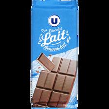 Chocolat au lait fourré lait U, tablette 2x100g