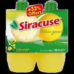 Jus de citron jaune SIRACUSE, 2x15cl + 33% offert soit 400cl