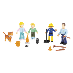 Coffret 5 figurines SAM LE POMPIER-sarah/mathieu/ellie/sam/ lion (chatde béatrice)+3 sets d'outils noir/orange/marron-à partir de 3 ans