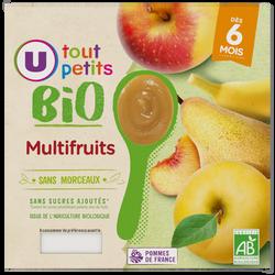 Pots dessert multifruits Tout Petits Bio U, dès 6 mois, 4x100g