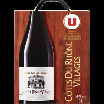 Vin rouge AOP Côtes du Rhone Villages Croix des Alliances U, fontaineà vin de 3l